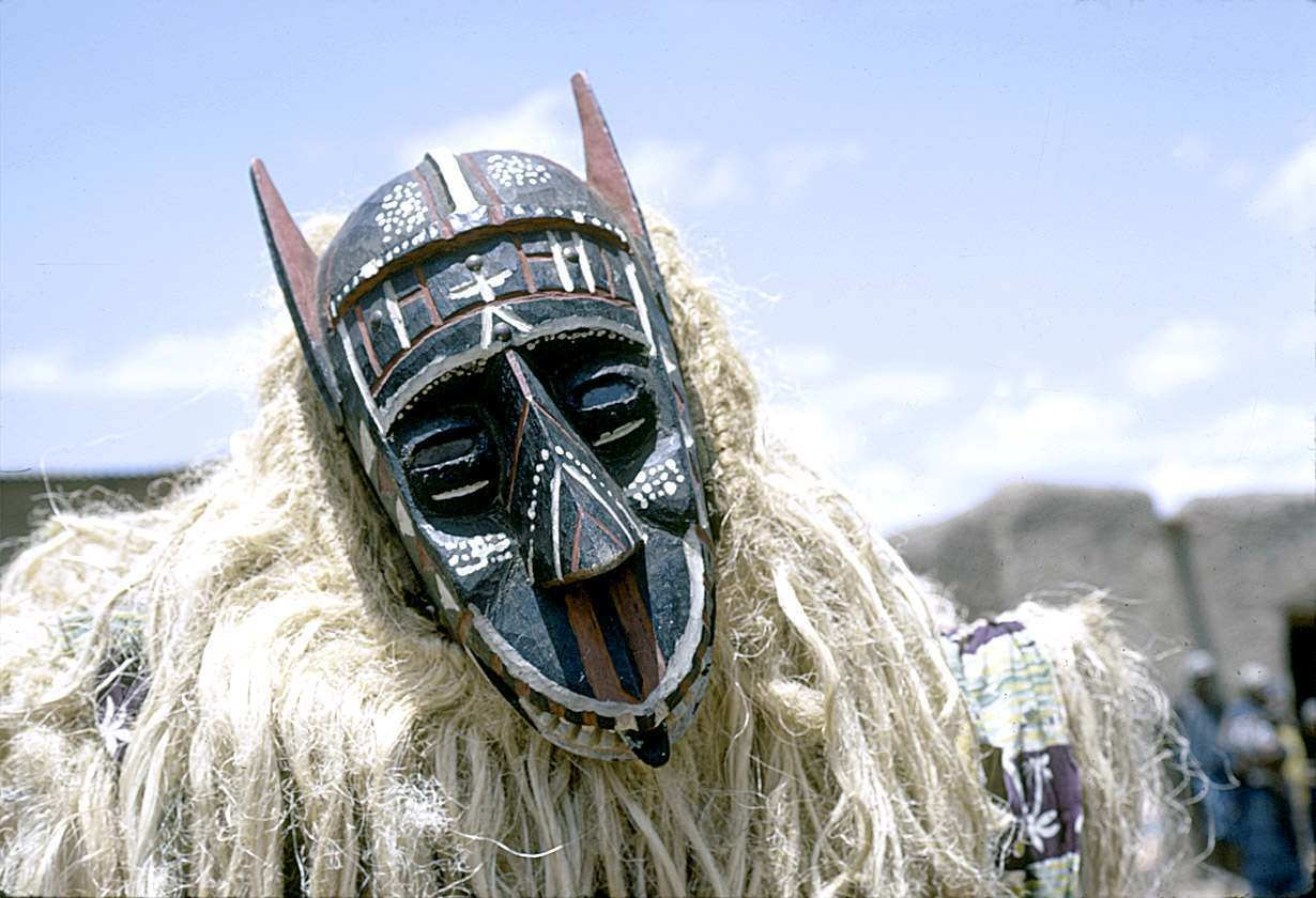 Masked performer with zantegeba (baboon) mask, Bamako (national district), Mali