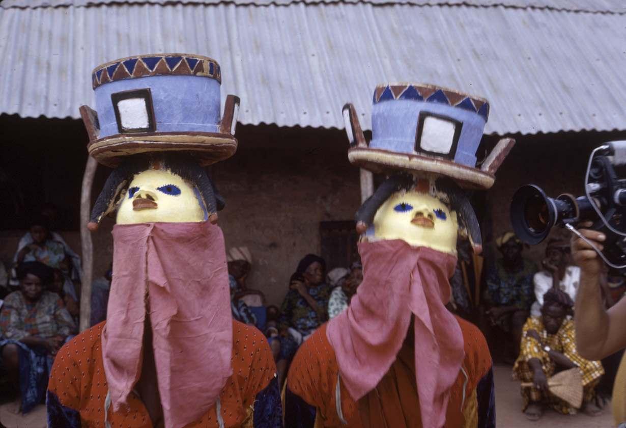 Masked dancer during a Gelede performance, Meko, Nigeria