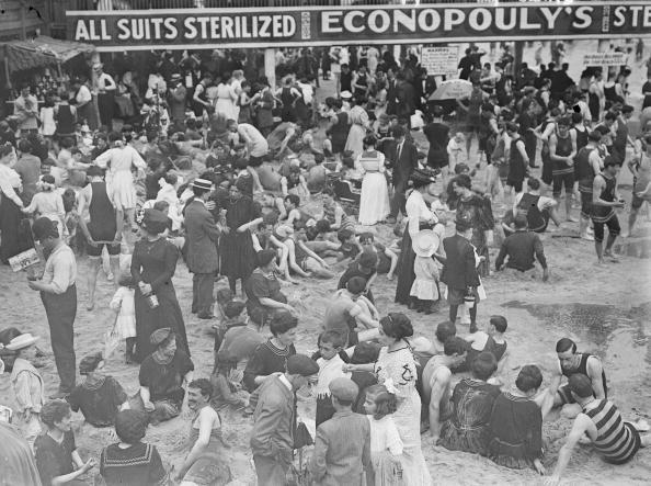 1900:  Bathing Suits can be Sterilized at Coney Island Beach in New York