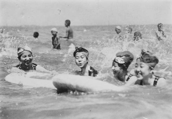1900:  Japanese women Swim in the Ocean at Seaside