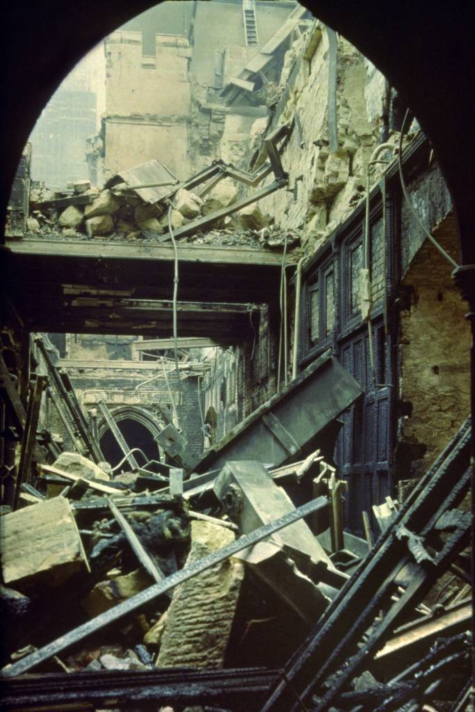 circa 1941:  The bomb-damaged ayes lobby in the Houses of Parliament.  (Photo by Hulton Archive/Getty Images)
