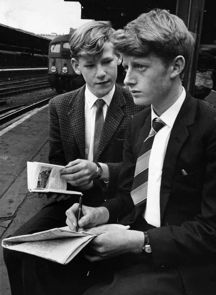 24th August 1963:  Teenage trainspotters Peter James and Paul Sliwinski who witnessed a rail crash while trainspotting.  (Photo by Keystone/Getty Images)
