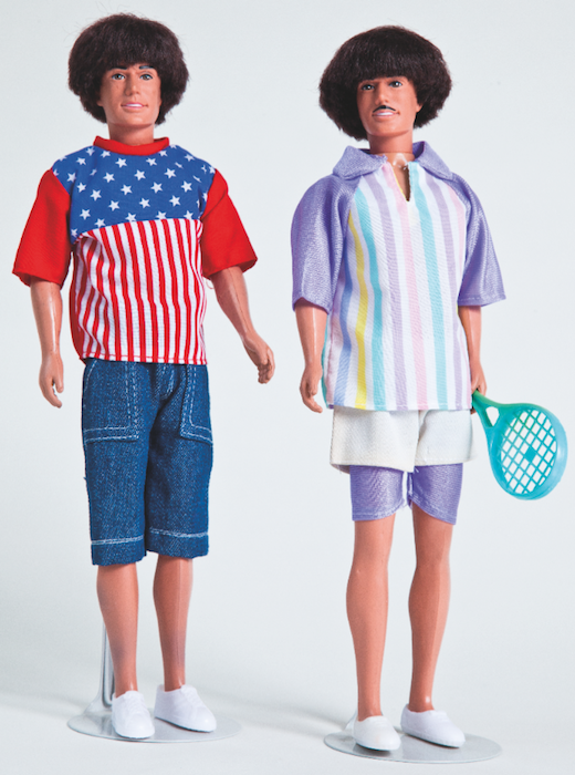 "Pair Men Marc, by Busch, Germany, 1979. ""Marc was sold with and without a painted-on mustache. These two Marcs model a more recent stars-and-stripes homeboy duo called California and a tennis set with lavender stretch undershorts."""