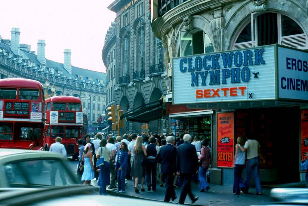 Picadilly Circus . Regent Street Clockword Nympho 1976 KH