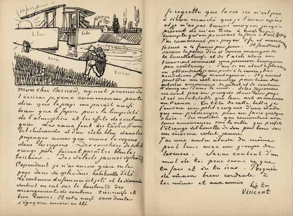 Facsimilie of letter from Vincent Van Gogh to Emile Bernard, Arles, 18 March 1888. Vincent Van Gogh, 1853-1890.