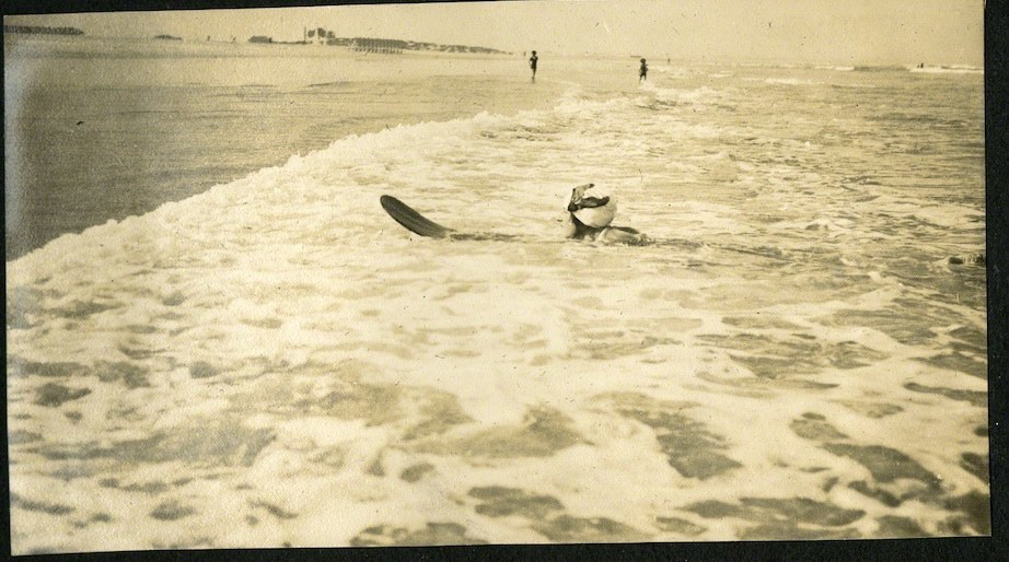 Surfing in Muizenberg. 7 February 1922. 'That rushing through the water at what seems to you a speed of about 200 miles an hour; all the way in from the far distant raft, until you arrived, gently slowing down, on the beach... It is one of the most perfect physical pleasures that I have known.'