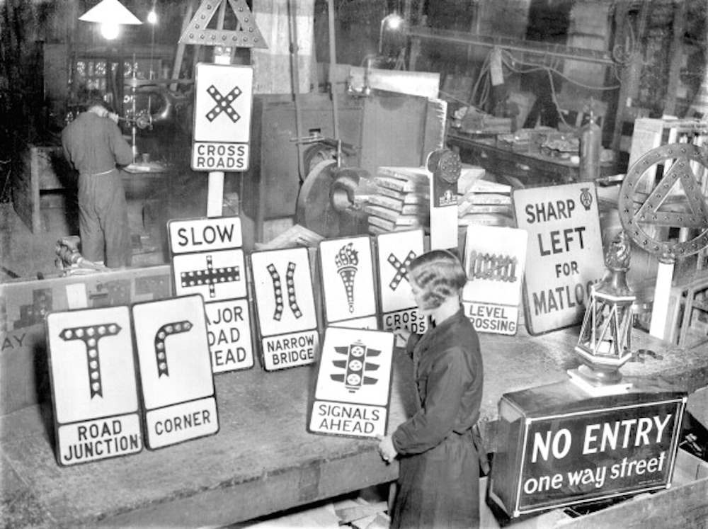 UNITED KINGDOM - JANUARY 01: Traffic signs, displayed in the factory they are made in. (Photo by Planet News Archive/SSPL/Getty Images)