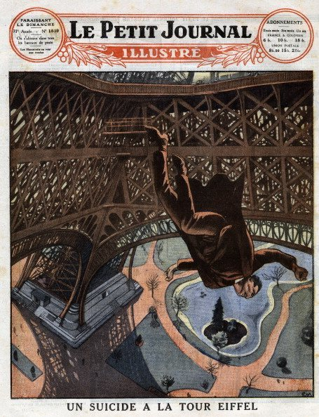 Neurasthenic Russian valet committing suicide by jumping off the first level of the Eiffel Tower, in Paris, on 7 March 1926, Frontpage of French newspaper Le Petit Journal Illustre, March 21, 1926, Private Collection, (Photo by Leemage/UIG via Getty Images)