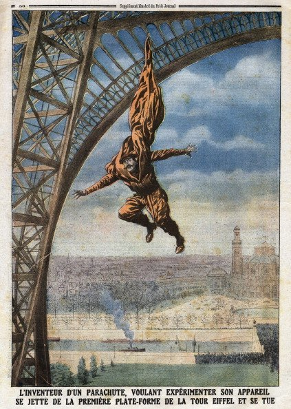 Accidental death of Austrian-born French tailor and inventor Franz Reichelt (1879-1912), by jumping from the Eiffel Tower while testing a wearable parachute of his own design, Illustration from French newspaper Le Petit Journal, February 18, 1912, Private Collection, (Photo by Leemage/UIG via Getty Images)
