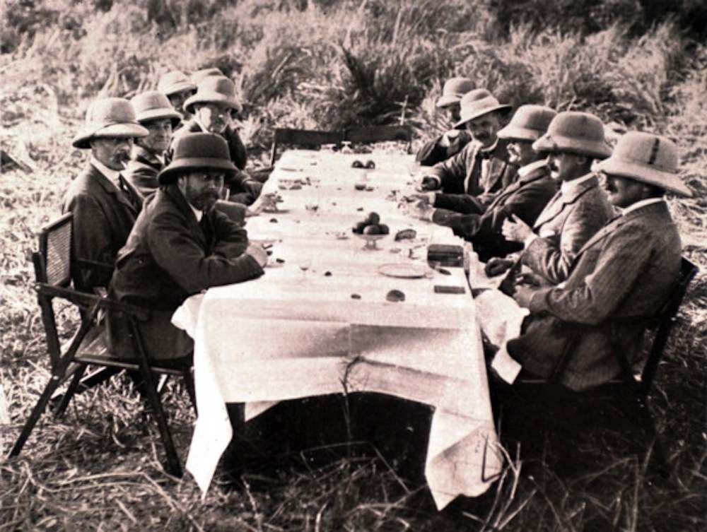 Nepal, 1912, After the hunt, lunch in the jungle, at King George V of England's table. (Photo by Photo12/UIG/Getty Images)