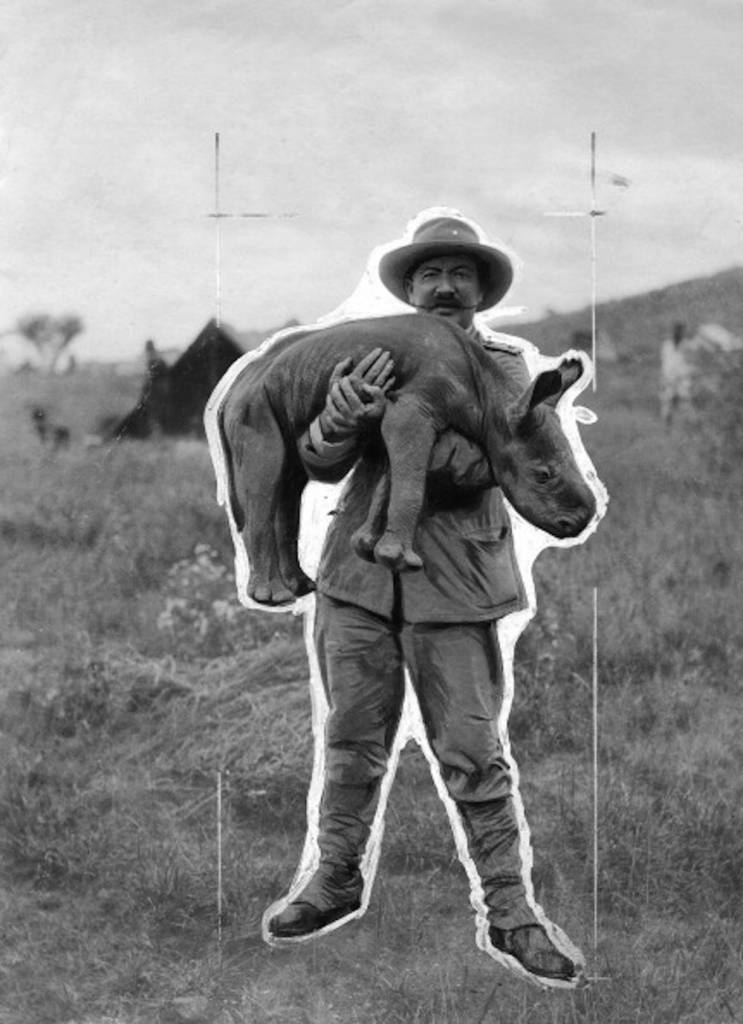 German East Africa, Victoria Nyanza: white hunter with a young rhinoceros. - 1907 -