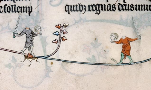 Cats vs. rabbits, headless people, and a lion playing the violin in the Breviary of Renaud de Bar, France, 1302-1303
