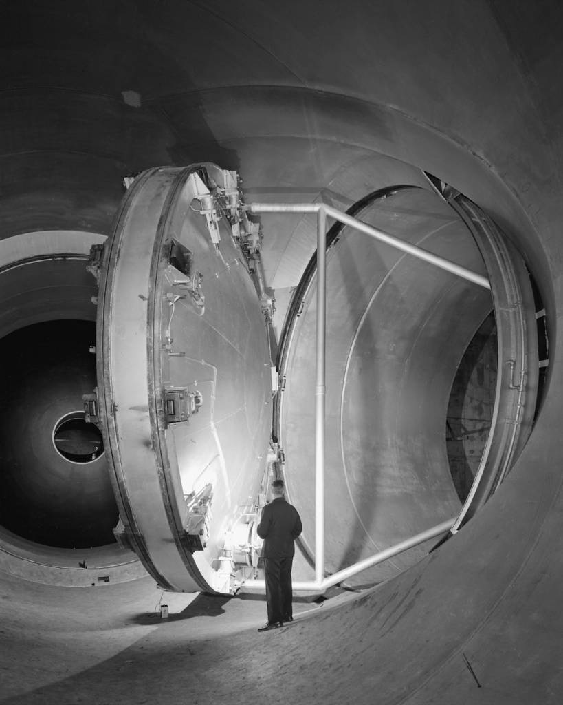 Swinging Valve for Supersonic Wind Tunnel  Description (May 17, 1956) 24 foot diameter swinging valve at various stages of opening and closing in the 10ft x 10ft Supersonic Wind Tunnel.