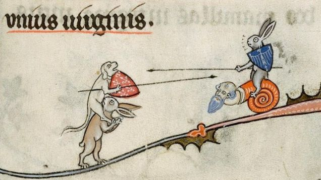Foxes vs. Monkeys from a 13th-century Bible