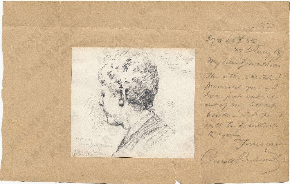 Letter from painter Carroll Beckwith (1852−1917) to architect John M. Donaldson (1854−1941) in which Beckwith affixes a pencil sketch he made of Donaldson while he was a student at the Ecole des Beaux-Arts, ca. 1876. John M. Donaldson papers.