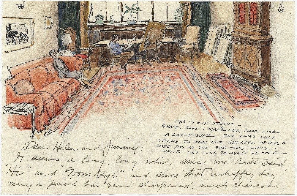 Letter from illustrator Paul Bransom (1885−1979) to Helen and Jimmy Hays. In the 1920s, the Bransoms built a home and studio at Canada Lake in the Adirondacks, where they were part of a small summer colony of artist and writers including Helen Hays, Clare Dwiggins, his daughter Phoebe Dwiggins, Todhunter Ballard, Charles Sarka, Margaret Widdemer, Mabel Cleland, Herbert Asbury, Emily Hahn, and James Thurber. In this 1943 letter Bransom paints his home studio. Helen I. Hays papers.