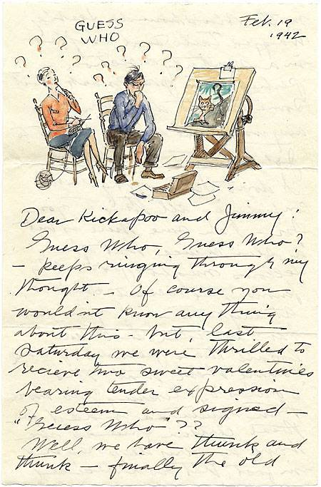 Letter from illustrator Paul Bransom (1885-1979) to Helen and Jimmy Hays. In the 1920s, the Bransoms built a home and studio at Canada Lake in the Adirondacks, where they were part of a small summer colony of artist and writers including Helen Hays, Clare Dwiggins, his daughter Phoebe Dwiggins, Todhunter Ballard, Charles Sarka, Margaret Widdemer, Mabel Cleland, Herbert Asbury, Emily Hahn, and James Thurber. In a letter dated February 19, 1942, Bransom dreams of their summer vacation home. Helen I. Hays papers.