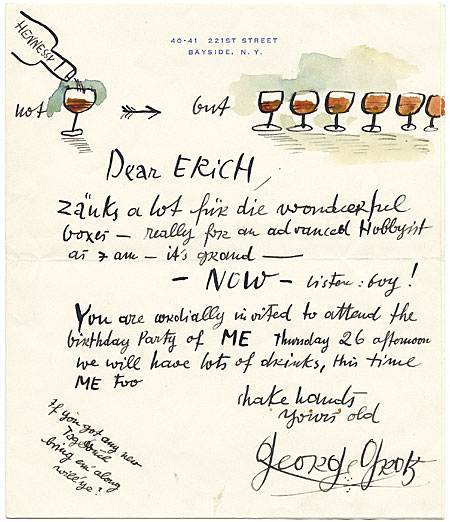 Letter from painter and printmaker George Grosz (1893−1959) inviting his friend Erich S. Herrmann to his birthday party, undated. Erich S. Herrmann papers.