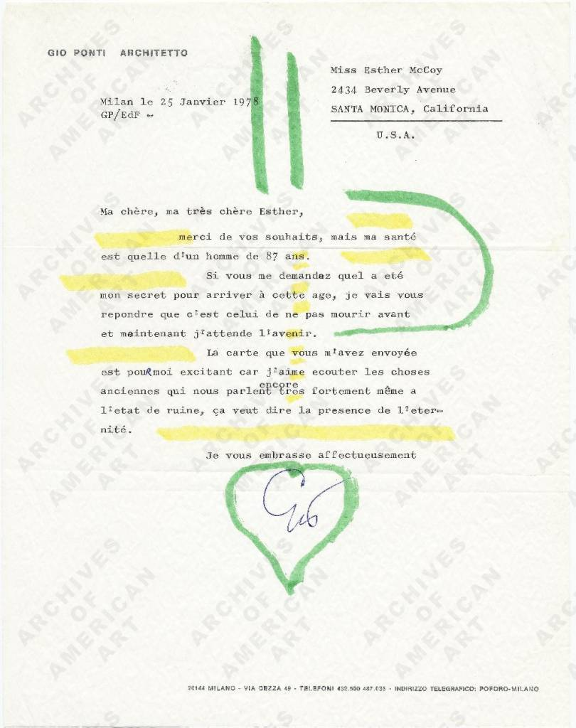 The papers of architectural historian Esther McCoy (1904−1989) include a series of affectionate illustrated letters from Italian architect and designer Gio Ponti (1891−1979). Ponti's concept of total design extended to these fanciful communications from 1968 and 1978. Esther McCoy papers.
