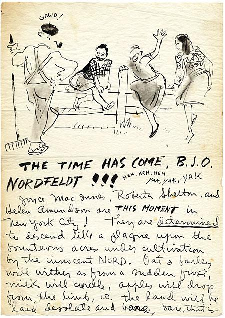 Letter from former student Roberta Shelton to Bror Julius Olsson (B.J.O.) Nordfeldt (1878–1955), ca. 1946. Nordfeldt taught Skoog at the Minneapolis School of Art in 1944. This letter is a request from Shelton and her fellow classmates to visit Nordfeldt on his farm in New Jersey while they are visiting New York: *Let me state that we wish quite desperately to see you, that at the slightest bidding, we will come tearing down to Lambertville (wherever that may be) and attempt for a couple hours to conduct ourselves in dignified and unobtrusive style.* Nordfeldt was a popular teacher, well liked by his students. Bror Julius Olsson (B.J.O.) Nordfeldt papers.