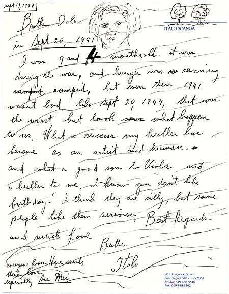 Letter from Italo Scanga (1932–2001) to artist Dale Chihuly (b. 1941), September 19, 1997. This letter is birthday greetings from Scanga to Chihuly. Scanga describes his circumstances on September 20, 1941, the day Chihuly was born. Italo Scanga papers.