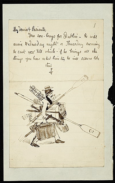 Painter Joseph Lindon Smith (1863-1950) penned a note to his parents about his arrival in Dublin, sketching himself as an overloaded traveler. Joseph Lindon Smith papers.