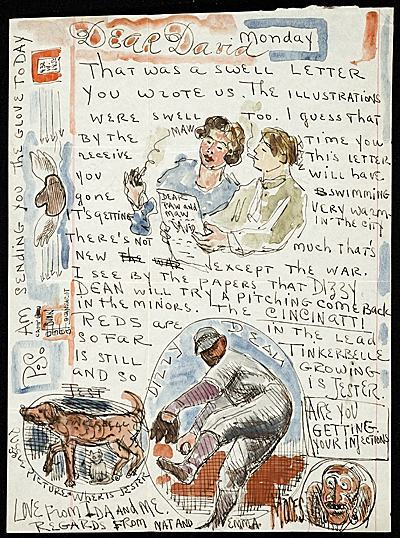 "Painter Moses Soyer (1899-1974) sent what he called a ""puzzle picture"" to his son David, who was away at a camp in the Catskills in the summer of 1940. In a watercolor vignette, he pictures the family dog and cat, Tinkerbell and Jester, along with the words ""Where is Jester"" (the answer is, hiding under the dog).  Soyer also prominently features baseball great Dizzy Dean, who was about to make a comeback in the minor league. He mentions that the Cincinnati Reds are in the lead. (They would win the World Series that year.) The baseball banter carries over to the margin, where Soyer sends a glove flying from their home at 432 West Street in New York to David's bunk at Camp Quannacut."