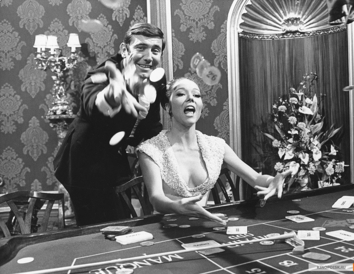 "George Lazenby and Diana Rigg enjoying themselves during the filming. Although Rigg said of her co-star in 1969: ""I can no longer cater for his obsession with himself. He is utterly, unbelievably . . . bloody impossible"""