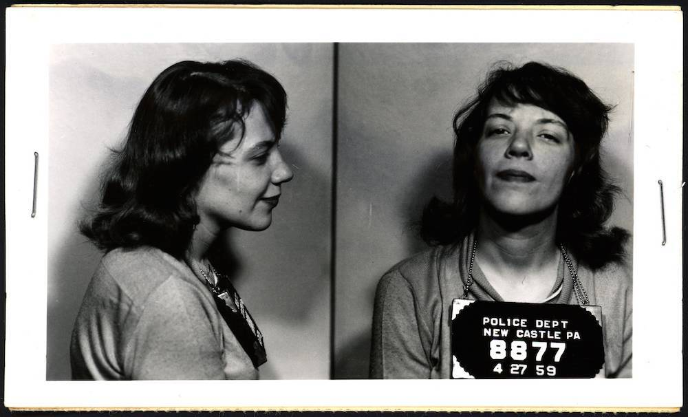 Betty Joan Knight's mug shot was taken at four in the morning on 27 April, 1959, after she and her drunk friends poured four quarts of oil over the floor of a filling station. She was fined $5.
