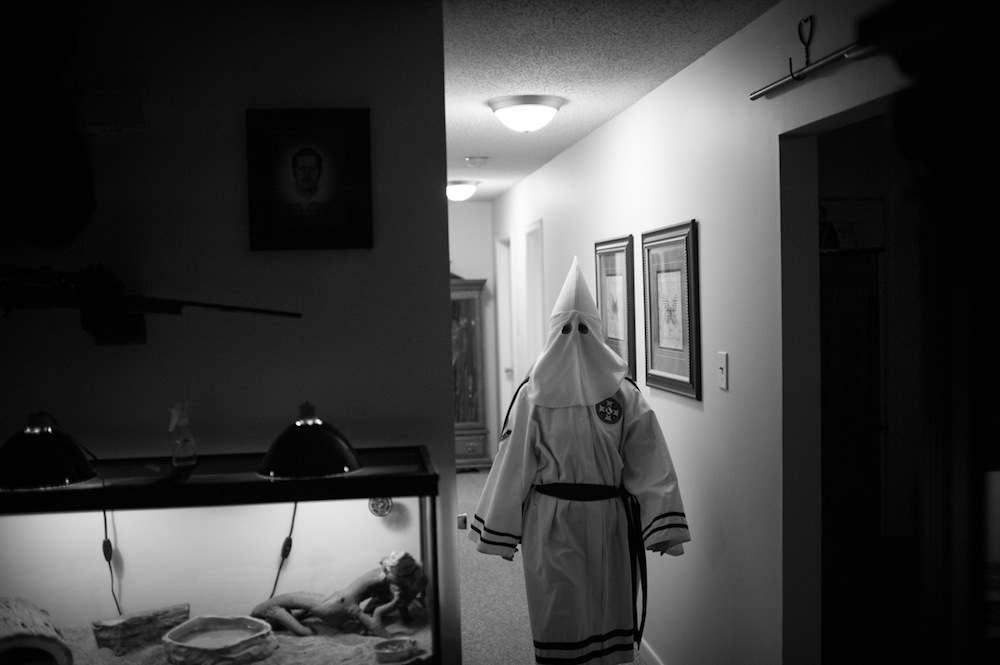 At the home of Imperial Wizard Dennis Labonate, shortly before a Ku Klux Klan naturalization ceremony.