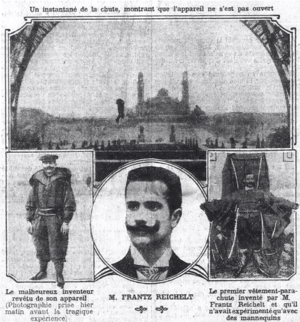 Several newspapers carried pictures of Reichelt's fatal fall on their front pages on February 5. Le Petit Parisien had this montage.