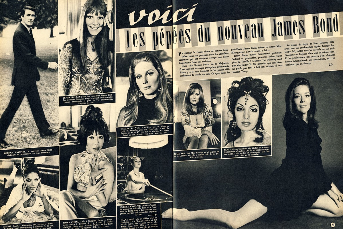 French film magazine Ciné Revue profiles the Bond girls of OHMSS.