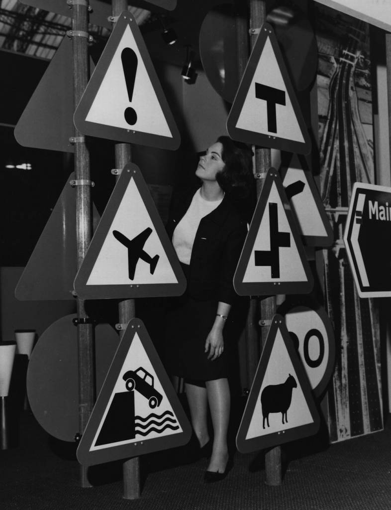 A display of road traffic signs at the Public Works and Municipal Services Exhibition at London's Olympia, London.    (Photo by Fox Photos/Getty Images)