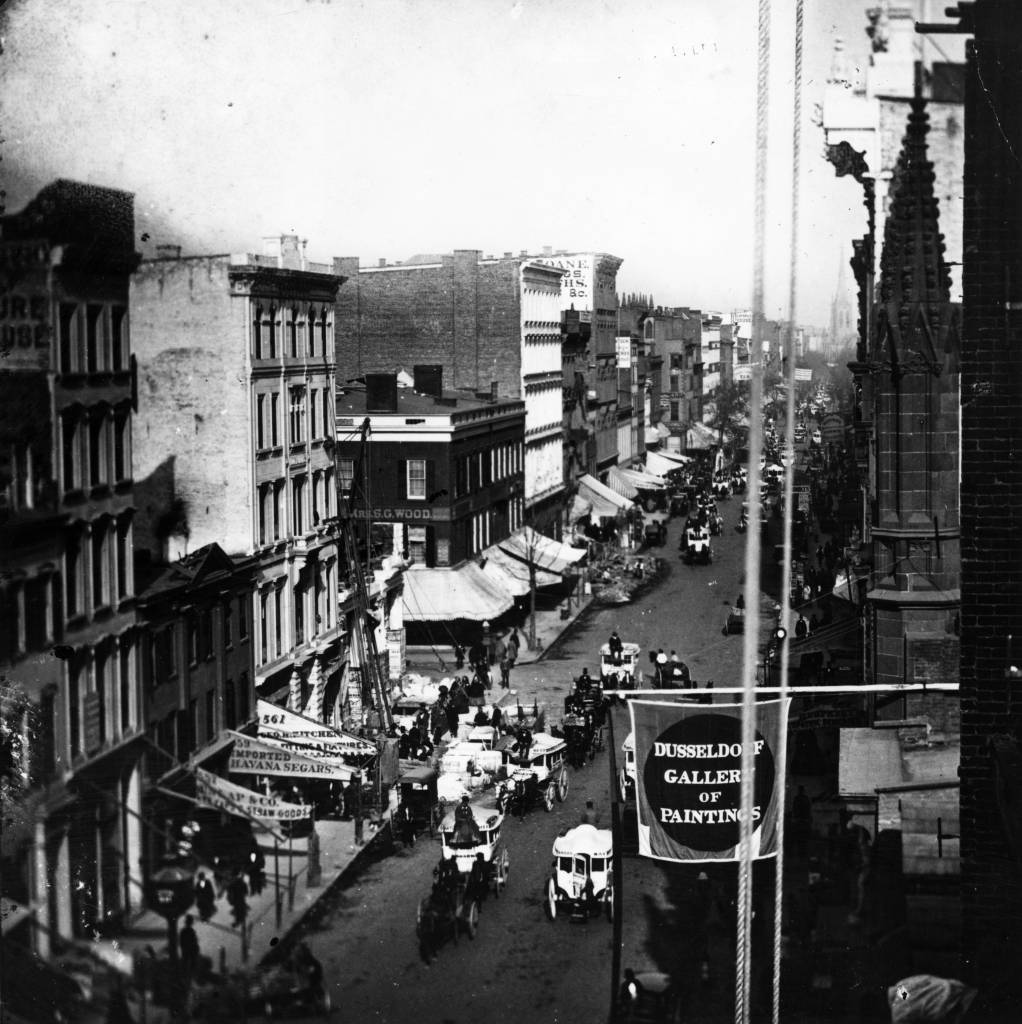 1859:  Traffic on lower Broadway in New York City.  (Photo by William England/London Stereoscopic Company/Getty Images)