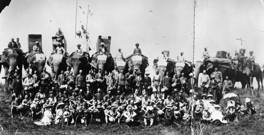 circa 1910:  Competitors and guests at a local shoot in India during the days of the British Raj.