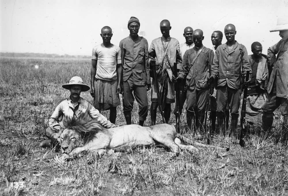 circa 1890:  Hunters with a dead lion they have killed.