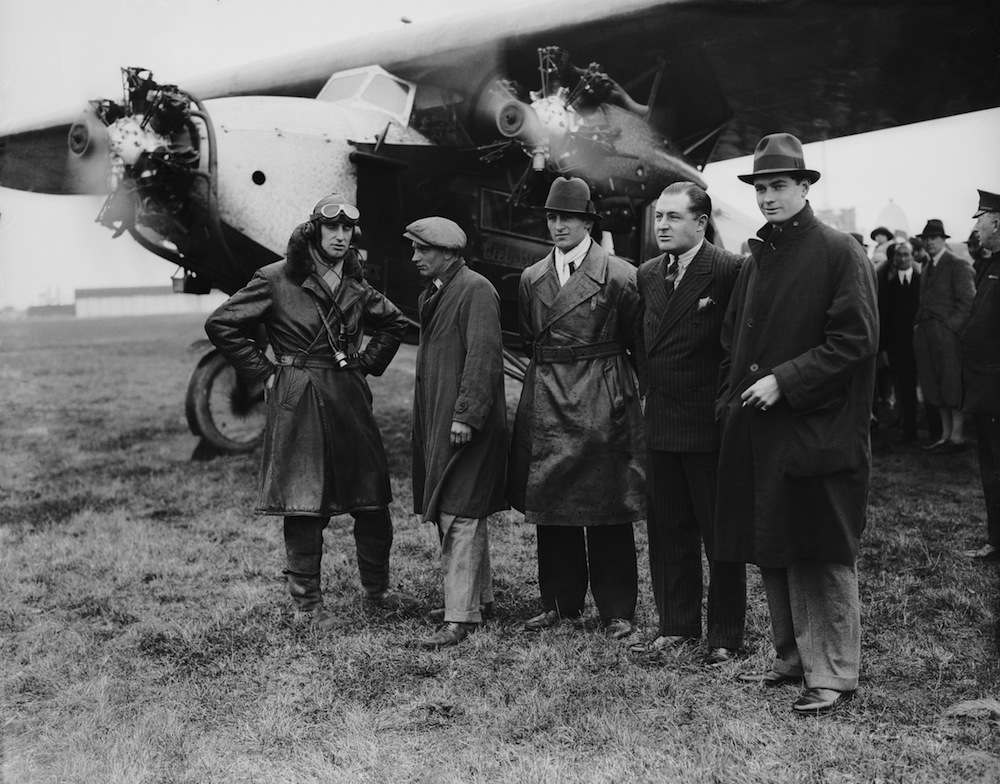 A party of big game hunters leaves Croydon airport, bound for Africa, 1928. They are Captain Drew (pilot), Mr Whatley (mechanic), Mr Thistlewaite, Mr Brand and Commander Glen Kidston. (Photo by Central Press/Hulton Archive/Getty Images)