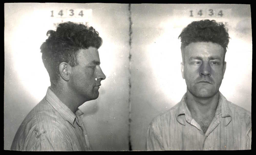 Just minutes after this mug shot was taken, on 30 July, 1951, James Byers—held on a charge of rape—broke out of police headquarters. After running for two blocks, he was captured by a police officer who pursued him on a bicycle.