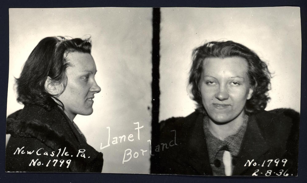 Janet Borland and her boyfriend abandoned a stolen car when it broke down in a blizzard outside New Castle on 8 February, 1936. They were arrested after police followed their footprints through the snow.