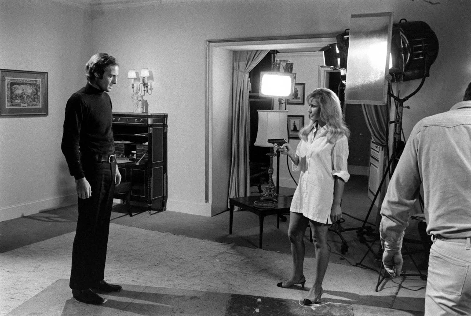 One of the Bond hopefuls after Sean Connery's decision to resign from the role, John Richardson reacts as his screen-test costar pulls out a gun, 1967