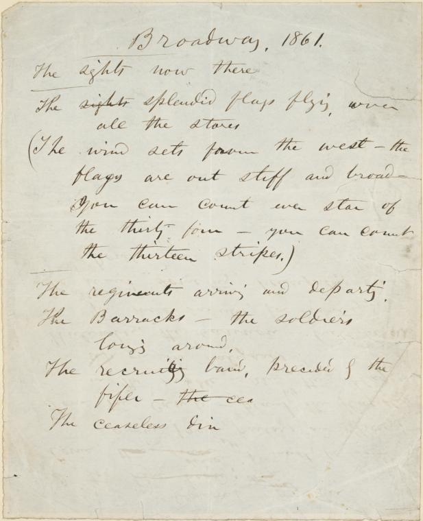 "Manuscript handwritten by Walt Whitman, American poet, for his poem ""Broadway, 1861"""