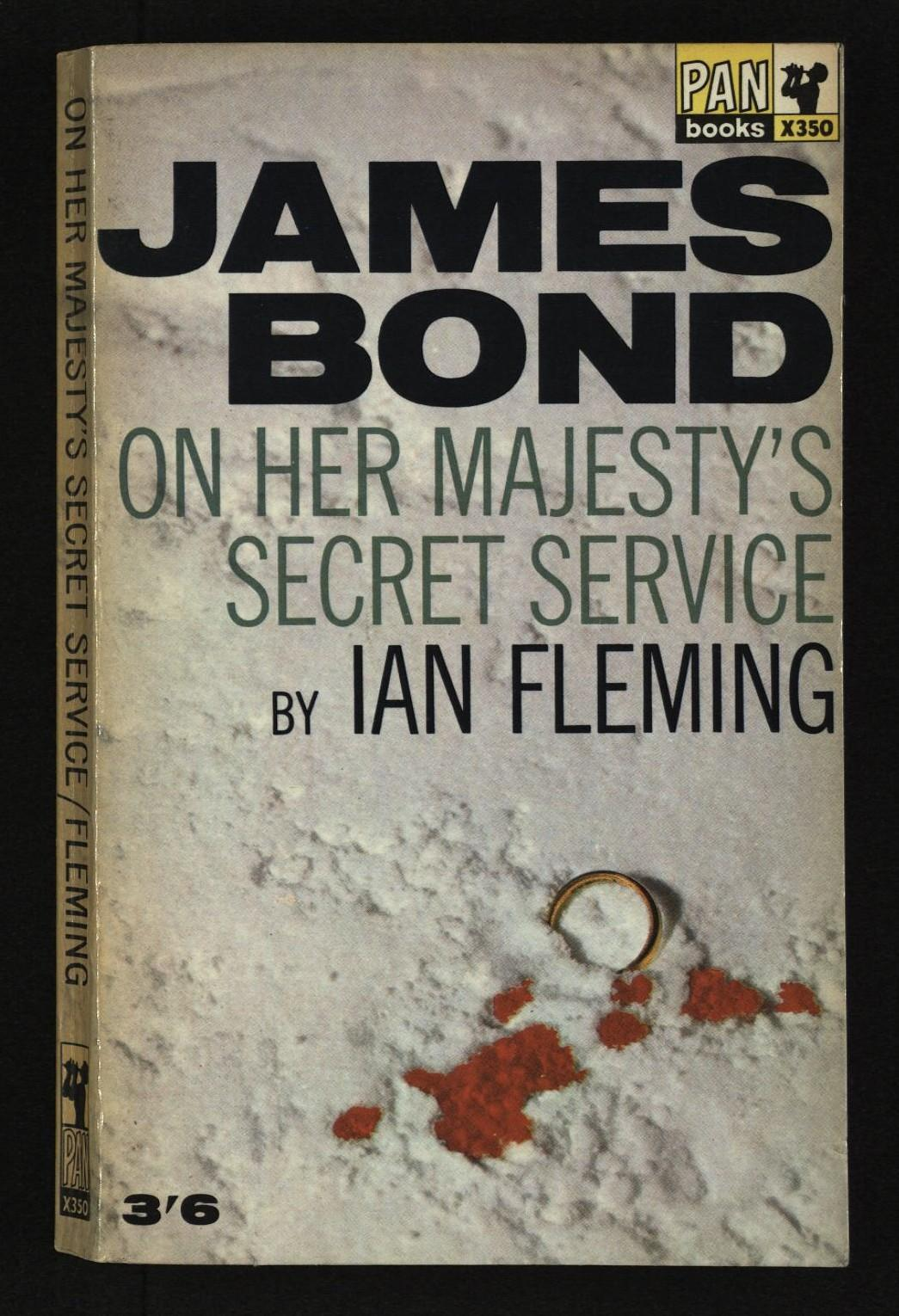 """On Her Majesty's Secret Service"""". Cover designed by Raymond Hawkey. London- Pan Books, 1965."""