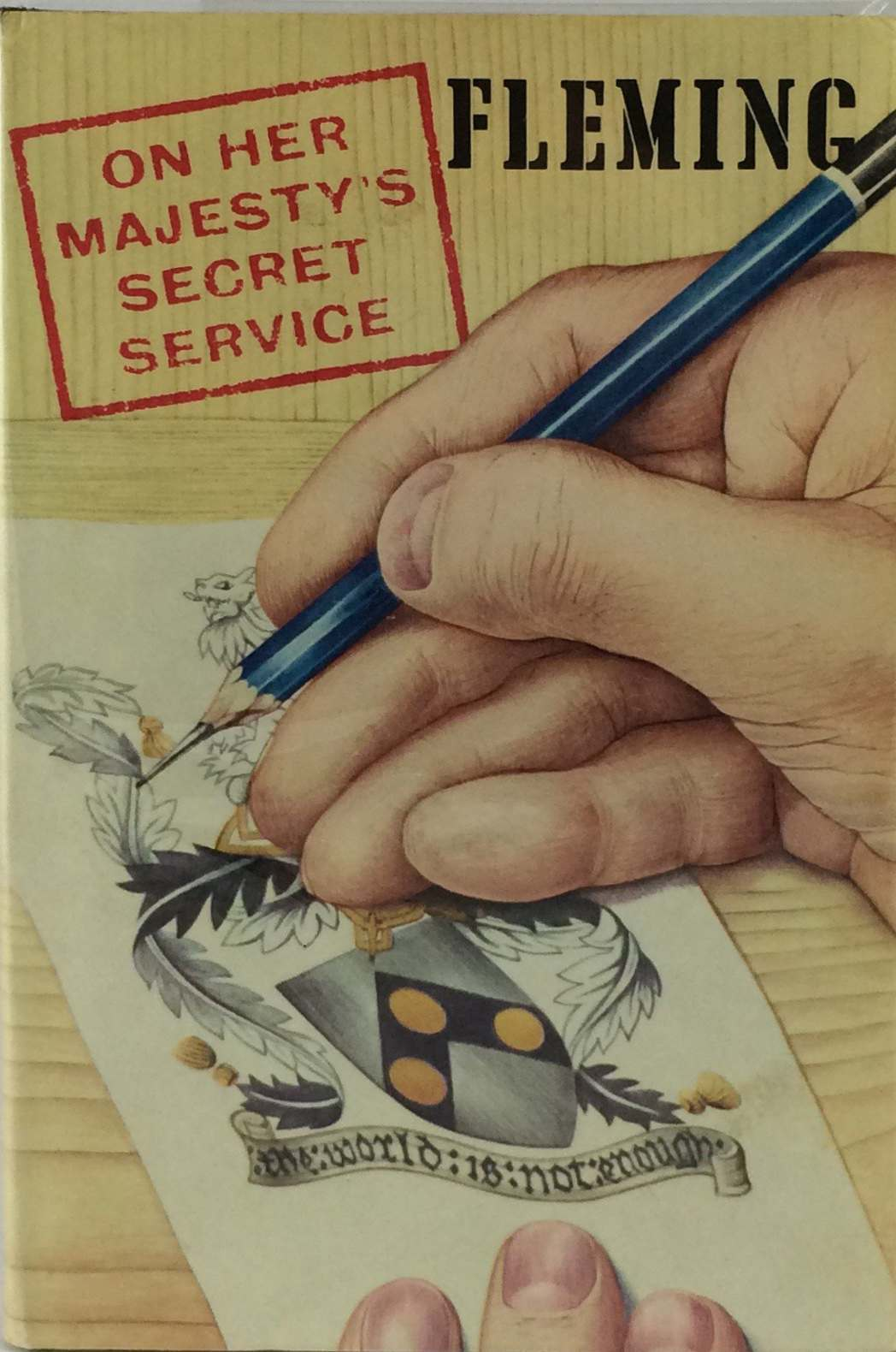 "The Jonathan Cape first edition cover of On Her Majesty's Secret Service, published in 1963. It's the second book in what is known as the ""Blofeld trilogy"", which begins with Thunderball and concluded with You Only Live Twice."