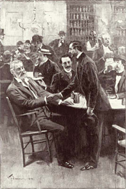 Pfaff's beer cellar in 1857. Depicted seated is Walt Whitman meeting Mr Charles Pfaff, your host