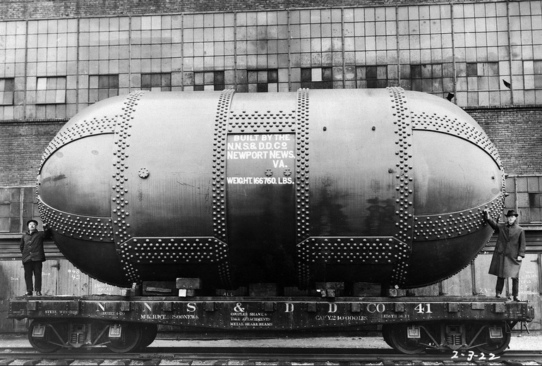 Description (February 3, 1922) The Variable Density Tunnel arrives by rail from the Newport News Shipbuilding and Dry Dock Company. The Tunnel was installed at Langley.