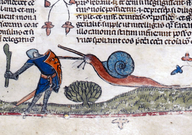 Snail vs. Knight, from The Smithsfield Decretals, decretals of Gregory IX, Tolouse, c. 1300. Illuminations were added about forty years later in London.