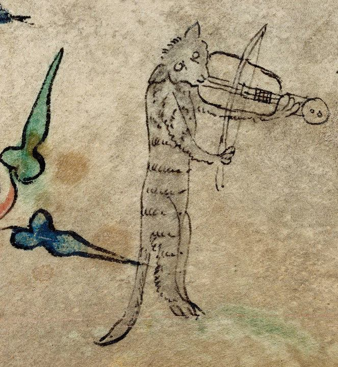 THE CAT & THE FIDDLE Book of Hours, England, 1320-1330. BL, Harley 6563, fol. 40r