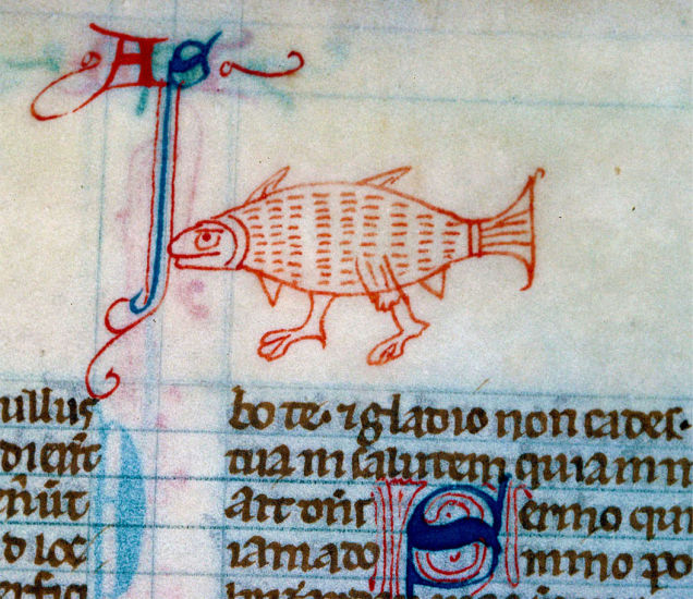 Walking Fish from a 13th-century English Bible
