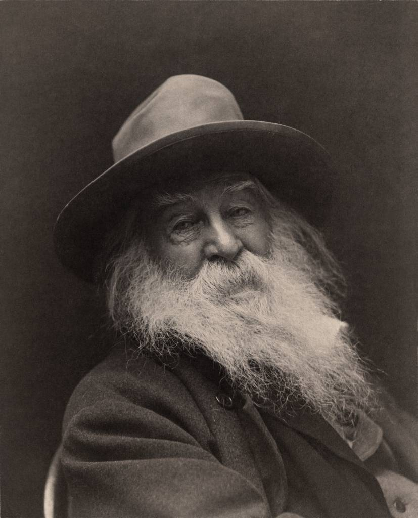 American poet Walt Whitman. This image was made in 1887 in New York, by photographer George C. Cox. The image is said to have been Whitman's favorite from the photo-session; Cox published about seven images for Whitman, who so admired this image that he even sent a copy to the poet Tennyson in England. Whitman sold the other copies.