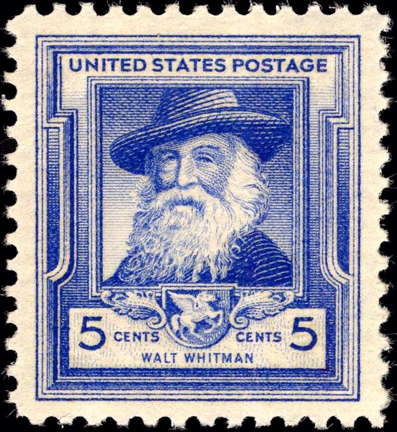 Whitman was honored on a 'Famous Americans Series' Postal issue, in 1940. Bureau of Engraving and Printing; Photo imaging by Gwillhickers - U.S. Gov.; Smithsonian National Postal Museum